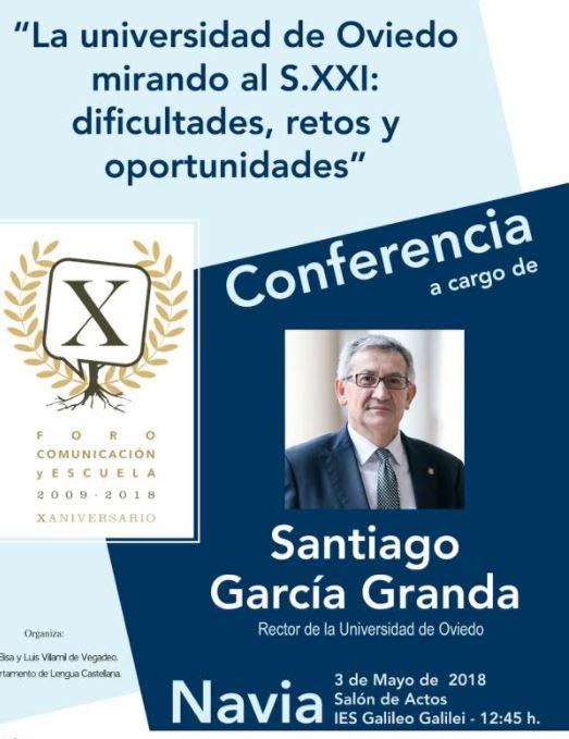Conferencia en Navia del rector de la Universidad de Oviedo
