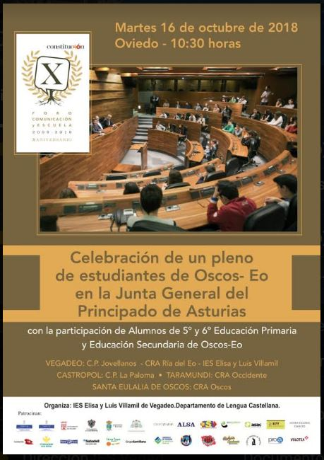 Pleno de estudiantes de Oscos-Eo en la Junta General del Principado en Oviedo