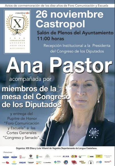 La presidenta y la Mesa del Congreso participarán en los actos conmemorativos del X aniversario del Foro Comunicación y Escuela