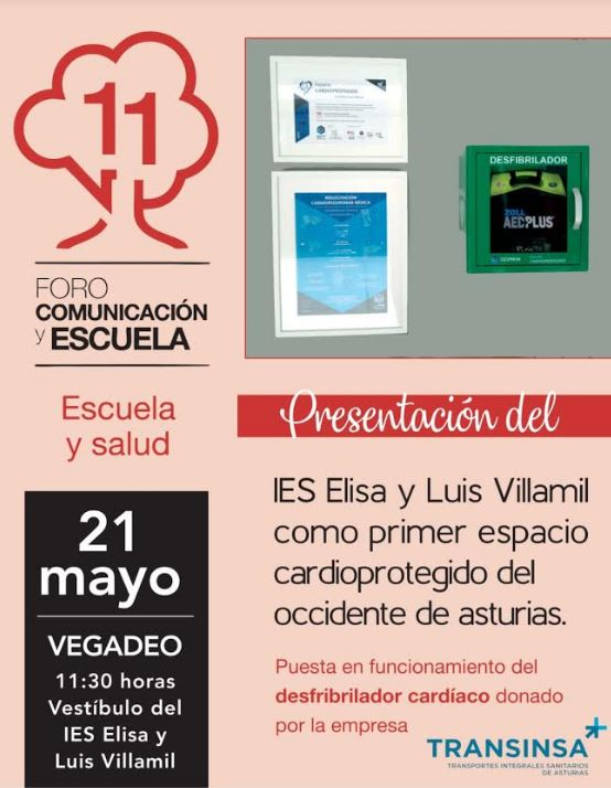 El IES Elisa y Luis Villamil contará con un desfibrilador cardíaco