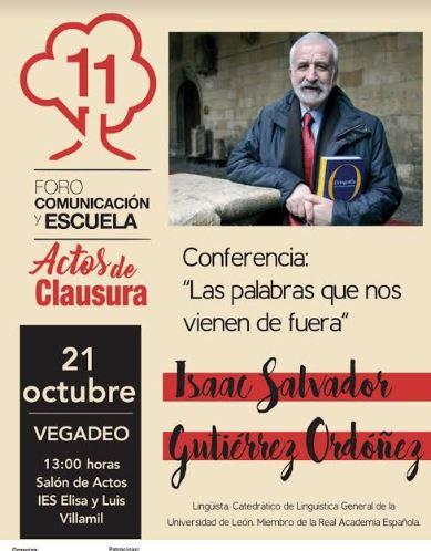 El académico de la Real Academia Española, Salvador Gutiérrez, imparte una conferencia en Vegadeo