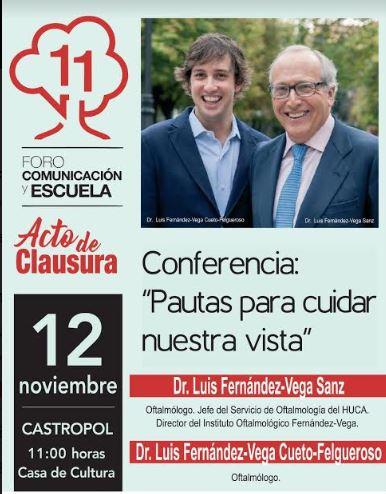 Los doctores Luis Fernández-Vega  imparten la conferencia de clausura del XI Foro Comunicación y Escuela